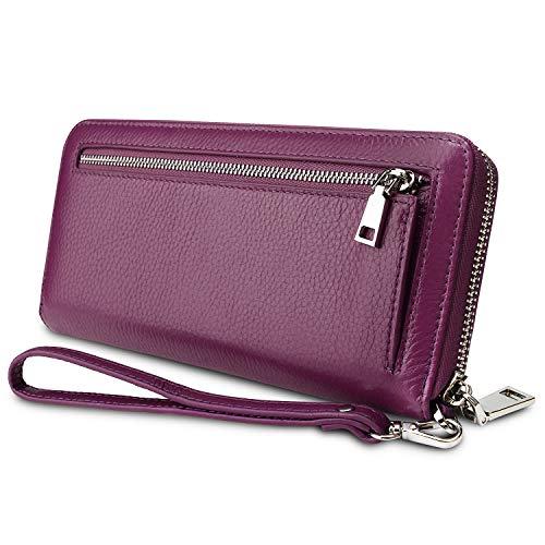 YALUXE Geldbörse Damen Echtleder RFID Security Zipper Wallet mit Wristlet Strap für Card Passport Phone Lila