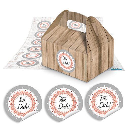 24piccolo marrone scatole regalo Confezione in simil legno 9x 12x 6cm senza manico + rotonda adesivo per il tuo Rosso Bianco Shabby Look 1807Ø 4cm scatola di cartone per preparate prodotti, regali