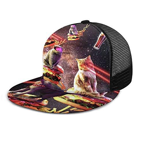 ZORIN Bill Plaid Baseball Caps 3D Impresión Malla Sombreros Galaxy Laser Eyes Gato En Burger El Snapback Negro