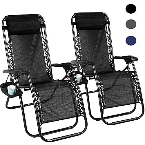 Zero Gravity Chair, Outdoor Lounge Chairs with Pillow and Tray, Patio Chairs Set of 2 Folding Recliner with Lock for Party, Patio, Beach, Backyard, Camping(Black)