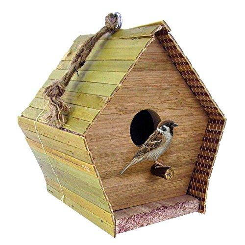 Casa Casita nido para pájaros de madera natural para colgar de jardín terraza exterior con posatoio X 14X 12X 12cm Mr Zoo