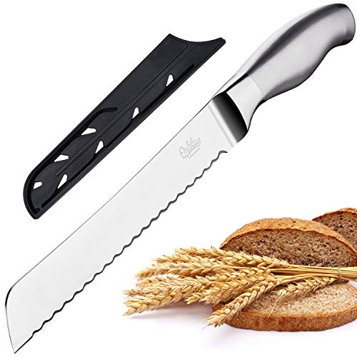 Orblue Serrated Bread Knife with Upgraded Stainless Steel Razor Sharp Wavy Edge Width - Bread Cutter Ideal for Slicing Homemade Bread, Bagels, Cake (8-Inch Blade with 5-Inch Handle)