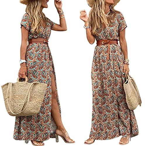 Kvinnors swing klänning maxi lång klänning blå 3/4 längd ärm blommig split print falla våren v nacke heta sexiga semester klänningar,Brown,S