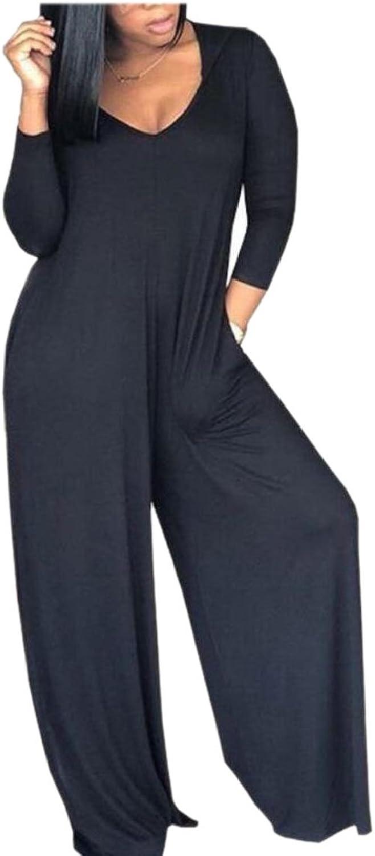 HTOOHTOOH Womens Summer Hooded VNeck 3 4 Sleeve Wide Leg Jumpsuit