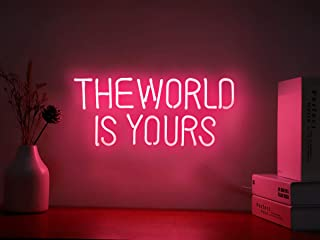 Neon Signs The World is Yours Pink Neon Light Sign Hanging Neon Sign Real Neon Lights Neon Wall Sign Neon Words for Wall B...