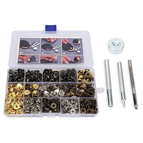 EVTSCAN Juego de botones de cierre a presión de latón puro y juego de herramientas de instalación para ropa, chaquetas, jeans, pulseras, bolsos(140)