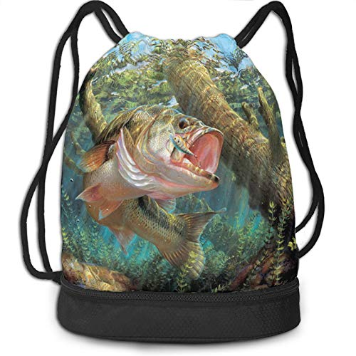 Drawstring Bag for Men Women Bass Fish Fishing Draw Backpack Beam Sackpack with Shoe Compartment Boys Girls Cinch Bags for Fishing Lovers Outdoor Hiking Beach Travel School Swimming Shopping Fitness