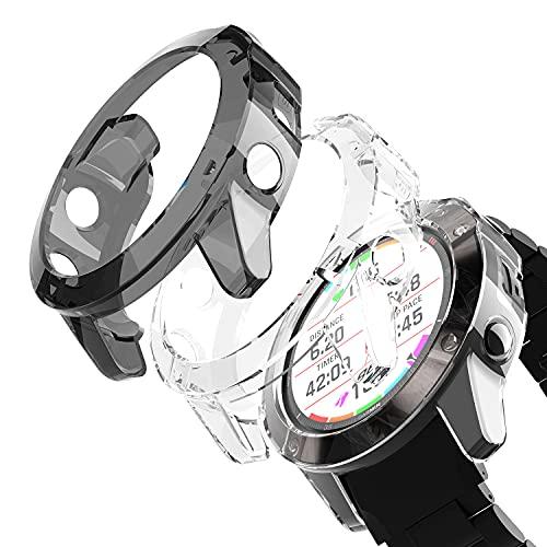 YABZOZ Carcasa para Garmin Fenix 6X / Fenix 6X Pro Funda Estuche de TPU Ultradelgado Suave y Ligero Carcasa Protectora (3 Piezas [1 * Negro + 2 * Transparente])