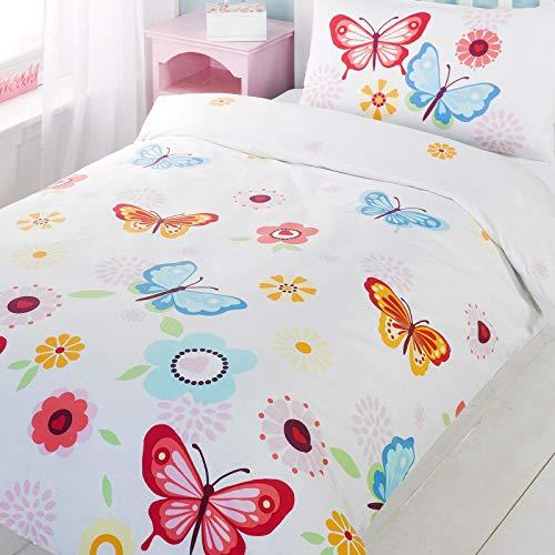 Kinderbettwäsche / Kinderbettbezug mit Schmetterlingen, inkl. Bettdeckenbezug und Kissenbezug