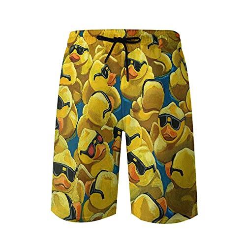 wwoman Bañador Corto de Playa para Hombre con diseño de Pato de Goma, Gafas de Sol Frescas, L