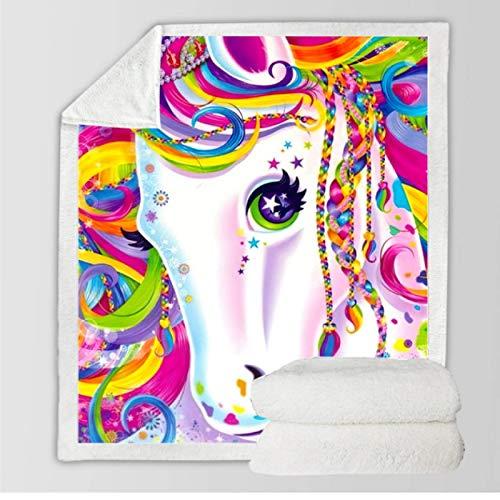 DJSK Animales de Dibujos Animados Unicornio Rosa Sherpa Manta cálida y acogedora Manta para Cama Sofá Sofá Viajes Decoración para el hogar Mantas Suaves 150 * 200 cm