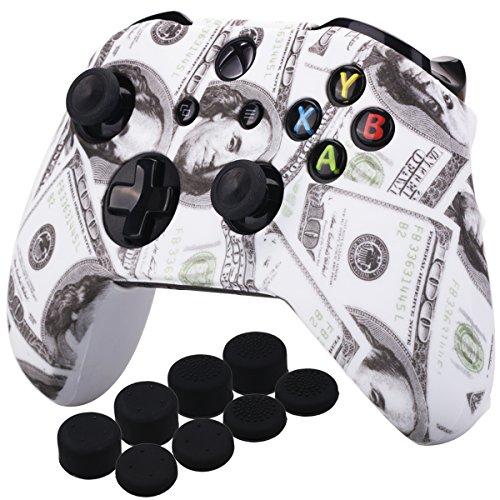 YoRHa Druck Gummi Silikon Hülle Skin Taschen für Xbox One S/X Controller x 1 (US Dollar) Mit PRO Daumengriffe Aufsätze Joystick-Kappen Thumb Grip x 8