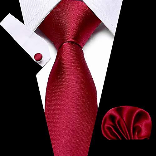 YTGUEVKDH Wedding Men's Tie Handkerchief Necktie Set Jacquard Woven 7.5 cm 100% Silk Red Soild Necktie Accessories Luxury Bow Tie (Color : K)