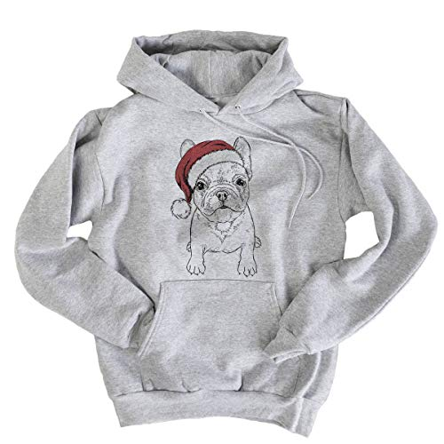 Inkopious Christmas PuppyPierre The French Bulldog Men's Pullover Hoodie Sweatshirt 2XL Grey