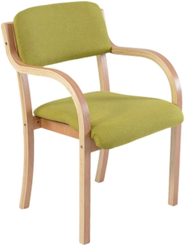 Barstool Nordic Solid Wood bar Stool backrest with armrests Office Household 5 colors 46  83cm (color   Fruit Green)