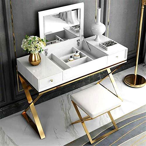 Ouuager-Home Schminktische Einfache Frisierkommode Licht Luxuxschlafzimmer Mini Edelstahl Frisierkommode (Color : White, Size : 80x40cm)