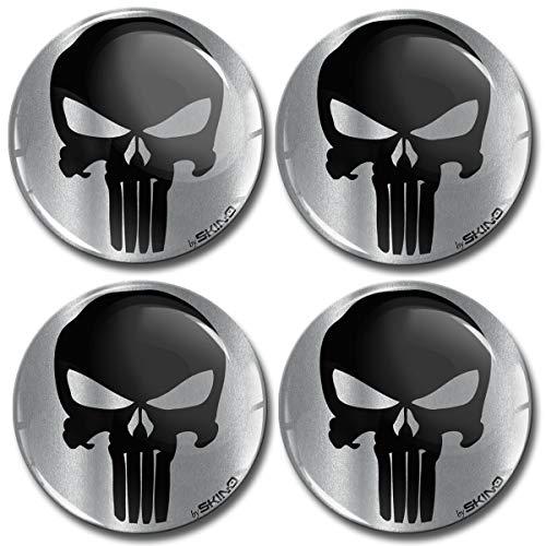 Biomar Labs® 4 x 65mm Aufkleber 3D Silikon Punisher Skull Schädel Totenkopf Silber Für Radkappen Nabenkappen Radnabendeckel Rad-Aufkleber Nabendeckel A 7965
