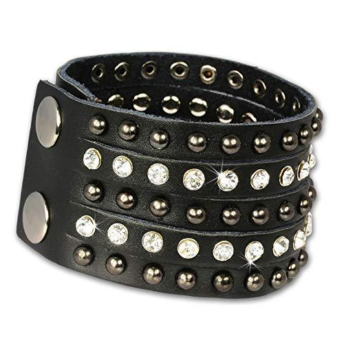 SilberDream Lederarmband schwarz mit Zirkonia Steinchen und Nieten für Damen Leder Armband Echtleder LAP231S