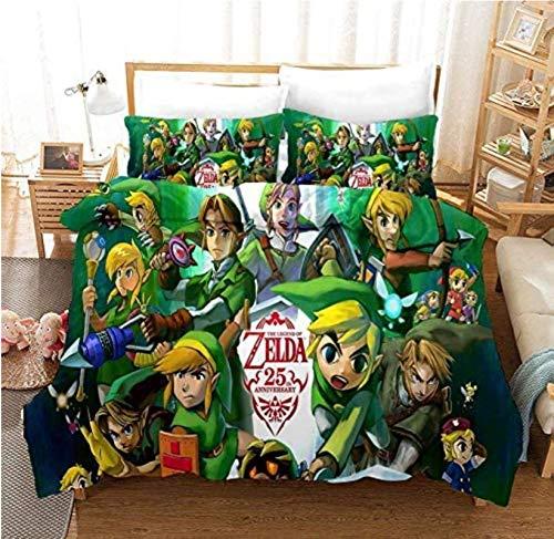 Nat999Lily Juego De Ropa De Cama para Niños Legend of Zelda, con Funda De Edredón, 100% Microfibra, Anime 3D Impreso Digital 220X240Cm Estilo 1
