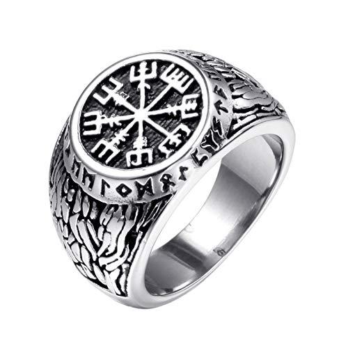 MINGDIAN Viking Herrenring, Vegvisir Viking Compass Compass Runenring, Punkband Ring, Größe 7-13