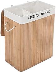 Songmics LCB64Y Wasmand van Bamboe, 100 L Wassorteerder met 2 Vakken, Opvouwbare Waszak met Uitneembare Waszak, Rechthoekige Wasbox, Naturel, 52 x 63 x 32 cm