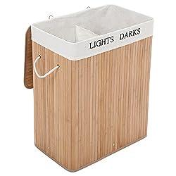 songmics w schesammler lcb64y gro er faltbarer 100l w schekorb aus bambus mit 2 f chern und. Black Bedroom Furniture Sets. Home Design Ideas