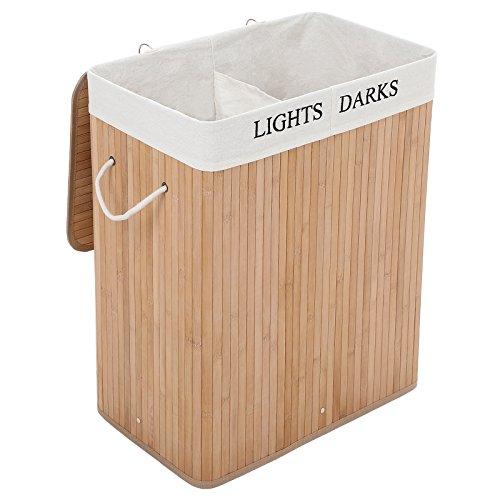 SONGMICS Wäschekorb aus Bambus, 100 L