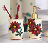 Poinsettia Christmas Bathroom Accessory Set By Collections Etc