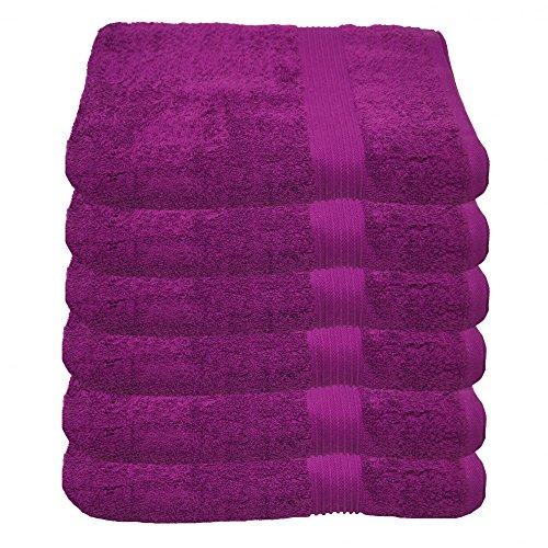 Julie Julsen 6er Pack Handtuch 23 Farben erhältlich weich und saugstark 500gsm Öko Tex Lila 50 x 100 cm