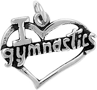 Raposa Elegance Sterling Silver I Love Gymnastics Charm (approximately 14.5 mm x 18.5 mm)