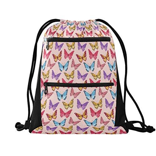 Sinestour Bolsa de cordón con diseño de mariposa enjambre ligero para adolescentes y niñas con bolsillos de malla con cremallera