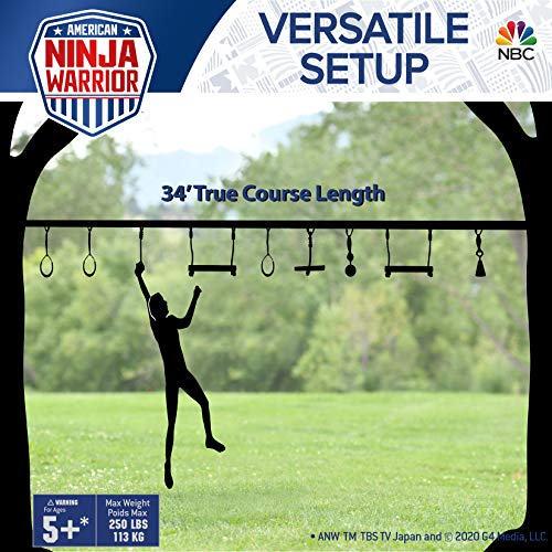 American Ninja    Warrior 40' Deluxe NinjaLine - Includes 9 Hanging Attachments - Best American Ninja Warrior Training Equipment For Kids - Build Your Very Own Backyard Obstacle Course - Rated Ages 5+