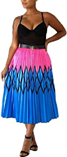 MogogoWomen Waistband Stretchy Individuality Floral Tribal Skater Skirt