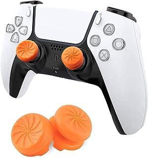 MAXKU FPSフリーク PS5 PS4 コントローラー用 親指グリップキャップ 可動域アップ プレイステーション5コントローラ用 FPSフリーク 2つのパフォーマンスサムスティック(オレンジ)
