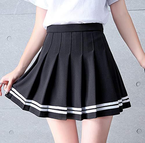 Mini Falda Mujer,Falda Corta Plisada para Mujer Cintura Alta A-Line Falda Acampanada Versátil Moda Sexy Estilo Preppy Falda De Tenis Skater para Niñas Vestido Escolar con Cinturón