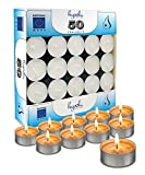 Hyoola Tea Lights Candles - 50 Bulk Candles Pack - Natural Palm Oil Tea Light - European Quality White Unscented Tealight Candles - 4 Hour Burn Time