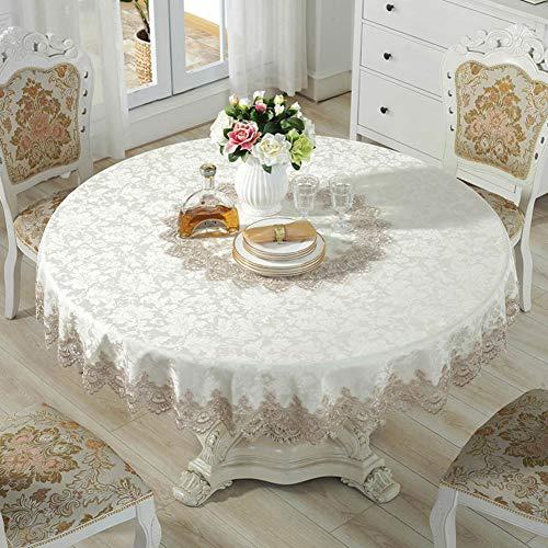 D&LE Runde Tischdecke, Europäische Jacquard Tischtuch 100% Baumwolle Makramee Spitze Tabletop Beschützer Für Home Essen Dekoration- Weißer Reis Diameter 150cm(59inch)
