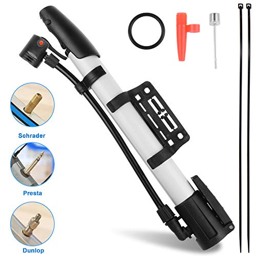 Bicycle Pump,Bike Pump,Mini Portable Aluminum Alloy Bike Tire Pump Kit for Mountain Bike,Swimming Ring,Balloon,Yoga Ball,Basketball, All Kinds of...