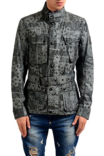 Belstaff Men's Gray Full Zip Belted Light Jacket (US S IT 48, Multi-Color)