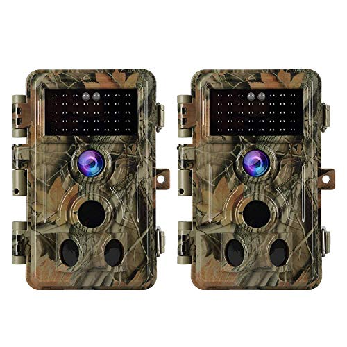 2-Pack Game & Trail Cameras Full HD 20MP Photo 1920*1080P H.264 MP4 Video Wildlife Deer Hunting Cameras No Glow Infrared Night Vision and 0.1S Fast Trigger IP66 Waterproof 120° Motion Activated, Password Protected, Photo and Video Model, Time Stamp and Time Lapse