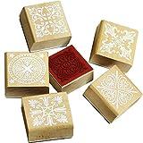 Timbri quadrati in legno, 6 pezzi, timbri in gomma, motivo floreale, timbri in gomma, per timbri fai da te e decorazioni