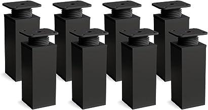 sossai® design meubelpoten MFV1 | set van 8 | in hoogte verstelbaar | Vierkant profiel: 40 x 40 mm | Kleur: zwart mat | Ho...