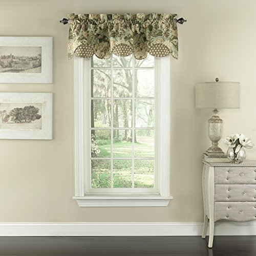 """Waverly Garden Glory 16"""" x 60"""" Short Valance Small Window Curtains Bathroom, Living Room and Kitchens, 16""""x60"""", Mist"""