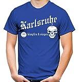 Karlsruhe kämpfen & Siegen Männer und Herren T-Shirt   Fussball Ultras Geschenk   M1 (XL, Blau)
