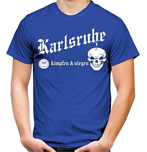 Karlsruhe kämpfen & Siegen Männer und Herren T-Shirt | Fussball Ultras Geschenk | M1 (XL, Blau)