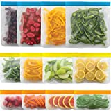 Gorilla Grip Original Premium Reusable Food Storage Bags, 12 Pack, Leakproof Secure Zip Freezer Safe, PEVA Storage Baggies, Includes 4x Each: Snack, Sandwich, Gallon Size Bag, Fresh Colors Set