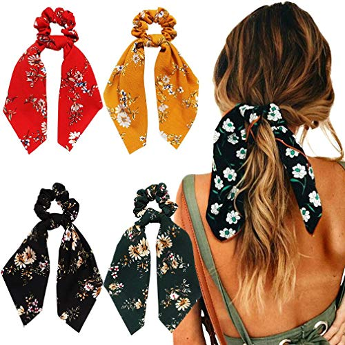 4Pcs Hair Scrunchies Chiffon Scarf Hair Ties Elastic Hair Bands Ponytail Holder Flower Printed Hair Bobbles Vintage Accessories for Women Girls