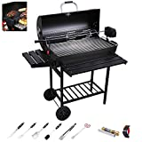 DNNAL BBQ Charcoal Grill, Outdoor Large Charcoal Household Barbecue and Offset Smoker for Camping Patio Hotel Villa Party (with Barbecue Accessories)