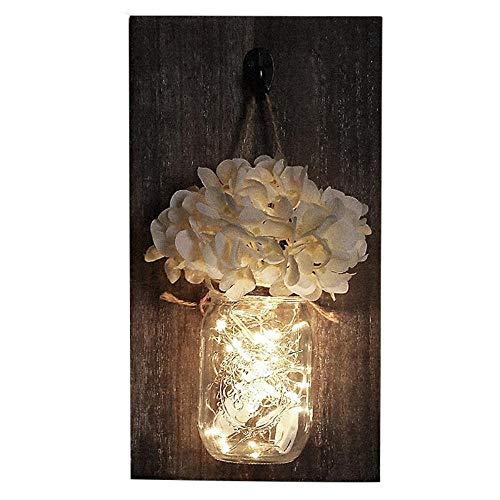 LED-wandlampen met slingers, bloemen, voor huis, landschap, bruiloft, café, bar, muur, slaapkamer, decoratie, hout