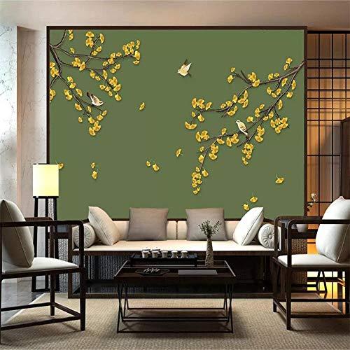 Fototapete mit Blumen- und Vogelmotiv, 400 x 280 cm